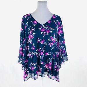 Lane Bryant 22/24 blue & pink light weight blouse